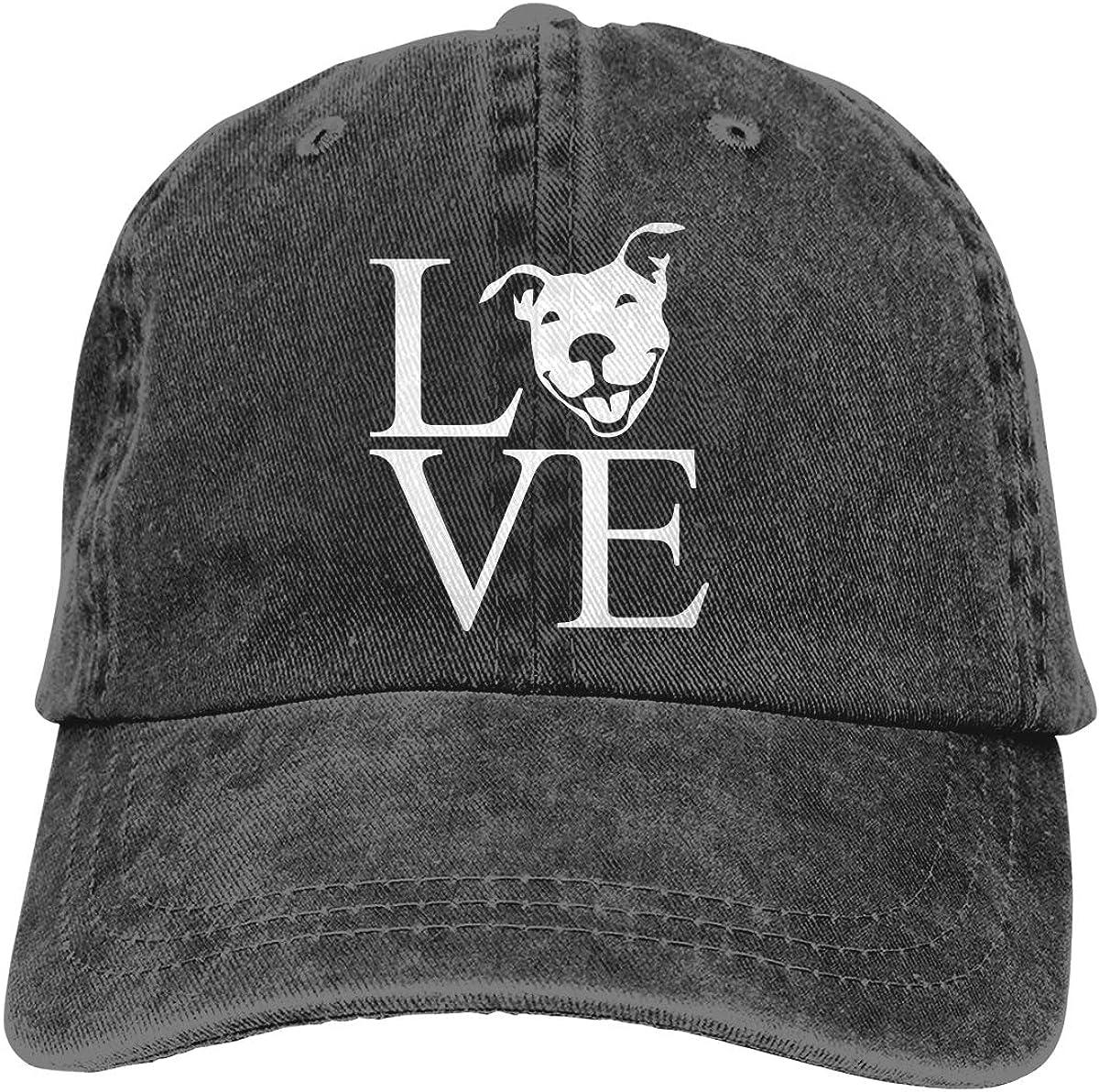 Love Pit Bull Adult Personalize Cowboy Sun Hat Adjustable Baseball Cap
