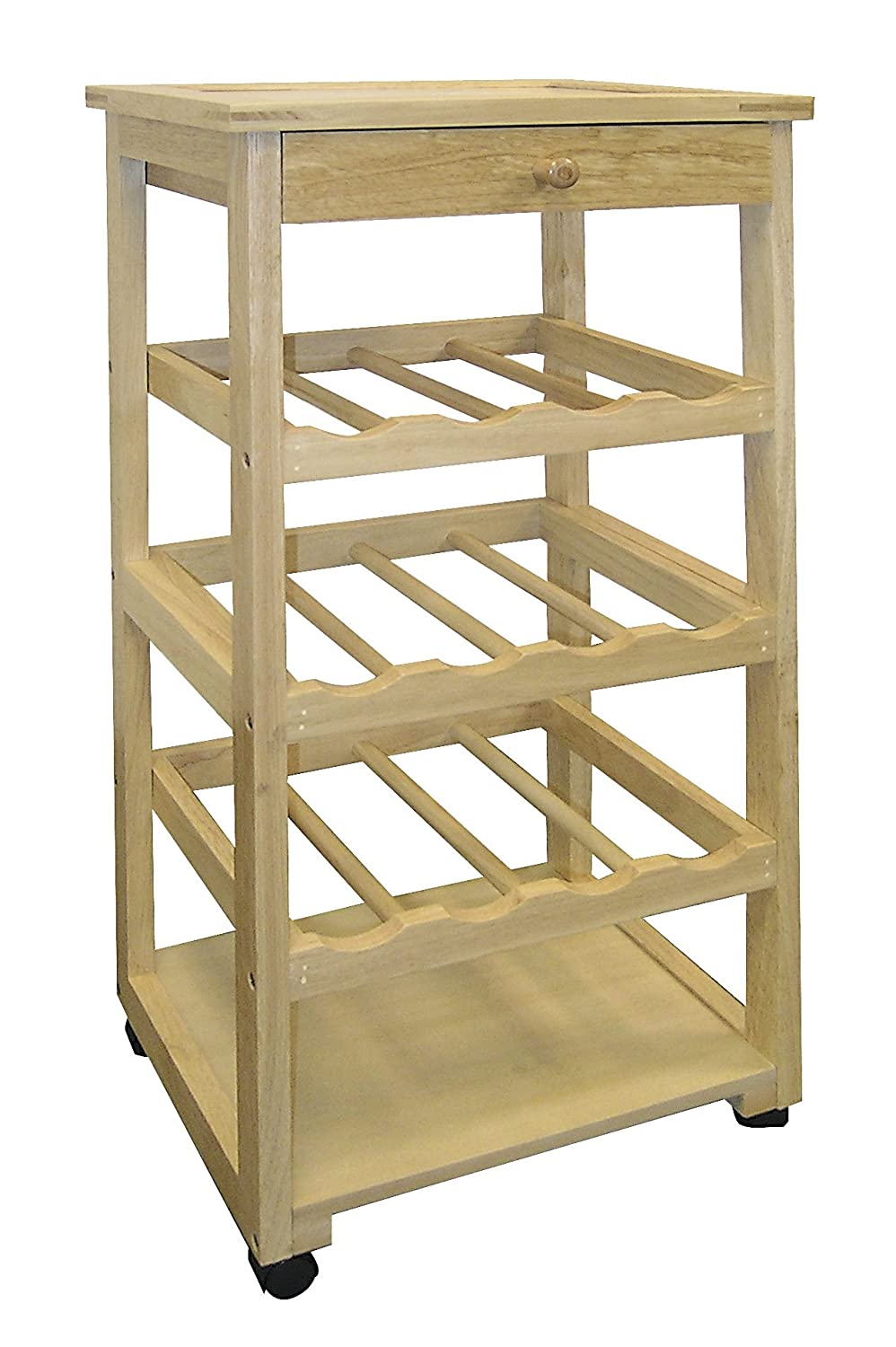 Ore International F-2002 Wooden Wine Rack with Wheels ORE1108