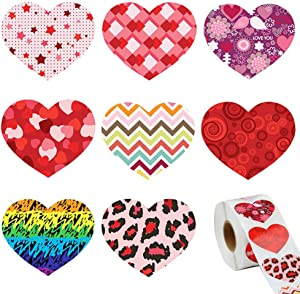 500 Pieces Heart Stickers Valentine's Day Colorful Love Decorative Stickers Self-Adhesive Heart Shaped Sticker Labels for Wedding Party Favor Decoration Accessories Scrapbooking Crafting Supplies