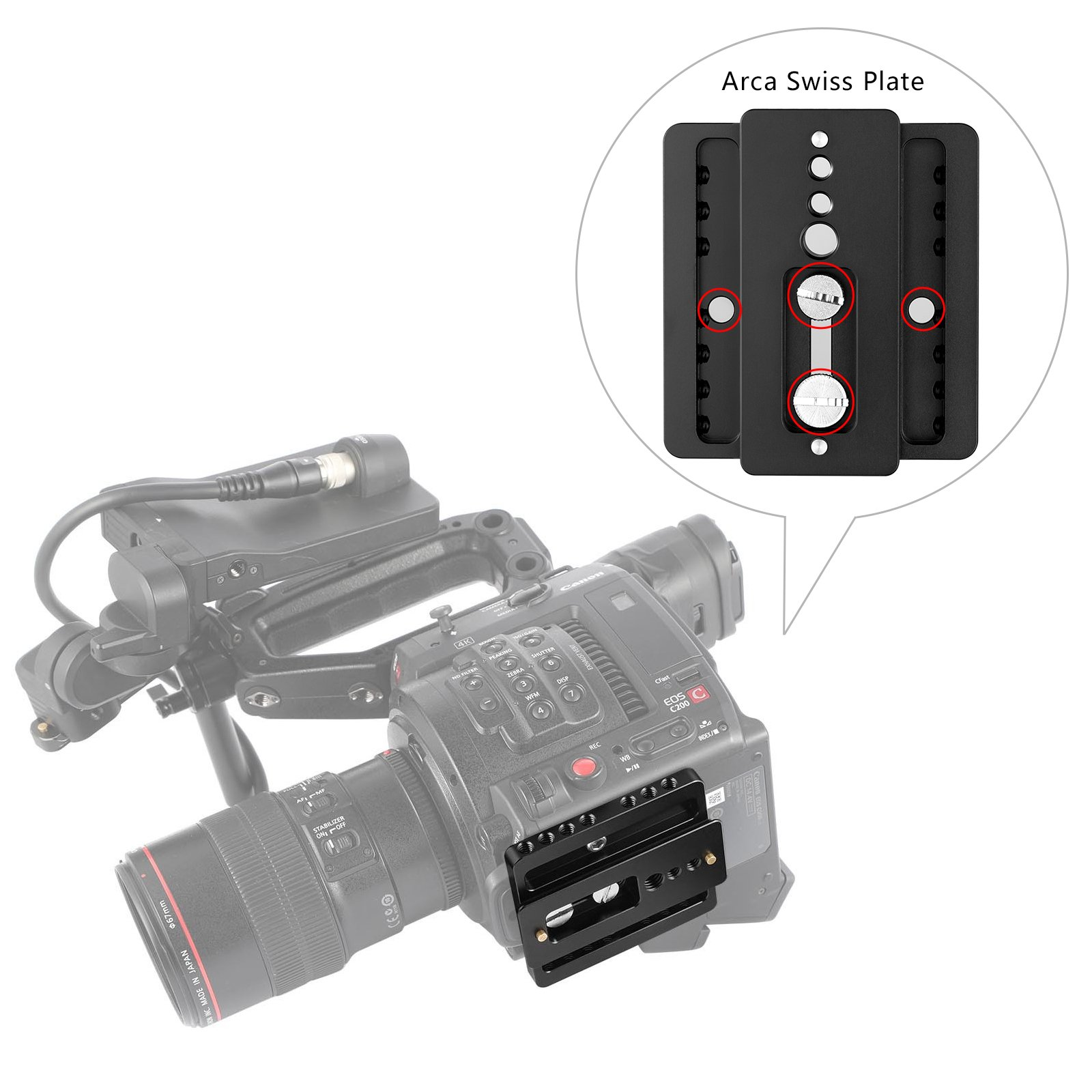 SMALLRIG Baseplate for Canon C200 and C200B with QR Plate for Arca and Dovetail for Arri–2076 by SMALLRIG (Image #4)
