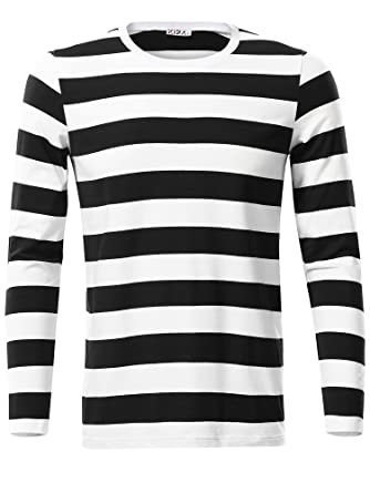 6ea86e5145 KIRA Mens Black Striped Shirt Round Neck Cotton Casual Tshirts(Black,S)