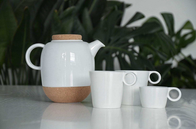avec Couvercle en li/ège et Bec Anti-Gouttes Viva Scandinavia Th/éi/ère Design en Porcelaine Blanche 1,2 l