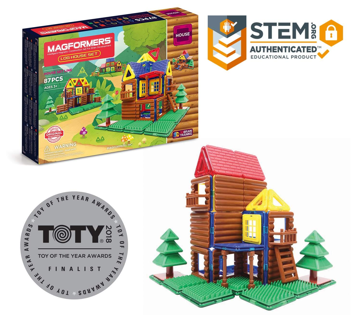 Magformers Log Cabin Toy Set, Building Magnetic Toy Log Cabin and Tree House for Kids, Set of 87 Pieces