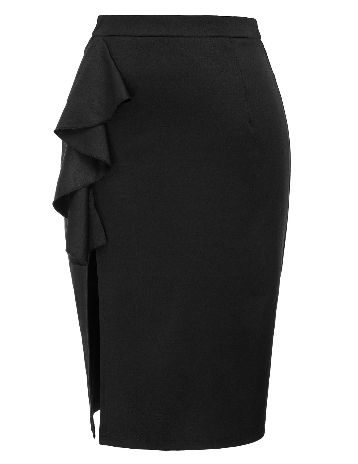 Kate Kasin Women's Knee Length High Waist Pencil Skirt with Ruffle Black Size S