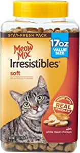 Meow Mix Irresistibles Crunchy Cat Treats with Real White Meat Chicken and Turkey