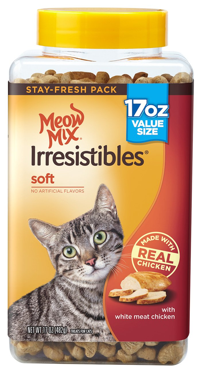 Meow Mix Irresistibles Cat Treats Soft With White Meat Chicken, 17 Oz(Pack Of 4) by Meow Mix