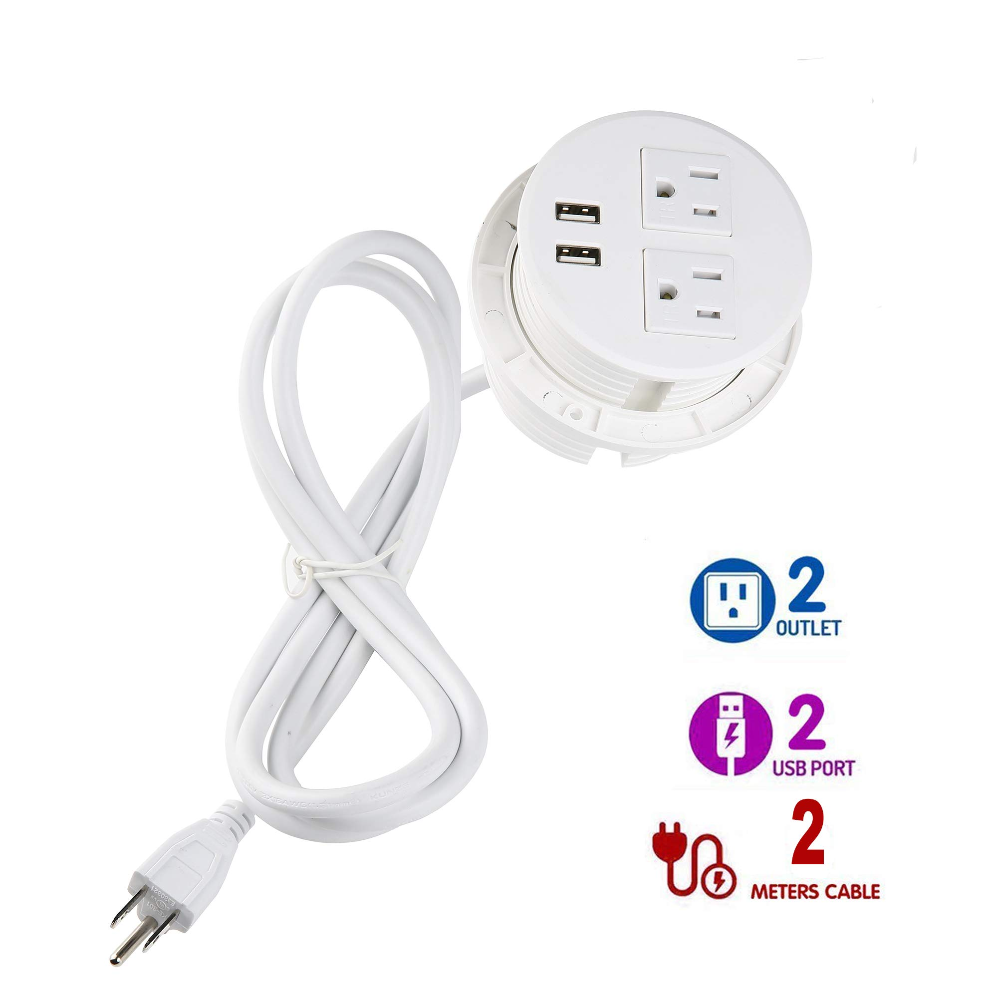 Desktop Power Grommet,Power Strip 2 US Standard AC Outlets 2USB Charger Port Slots and 6.6 ft Power Cord for Smart Phone Computer Office Home Kitchen White