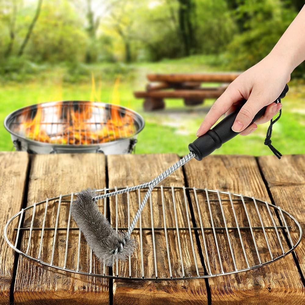 Cepillo de limpieza para barbacoa con mango y cerdas de alambre de acero inoxidable