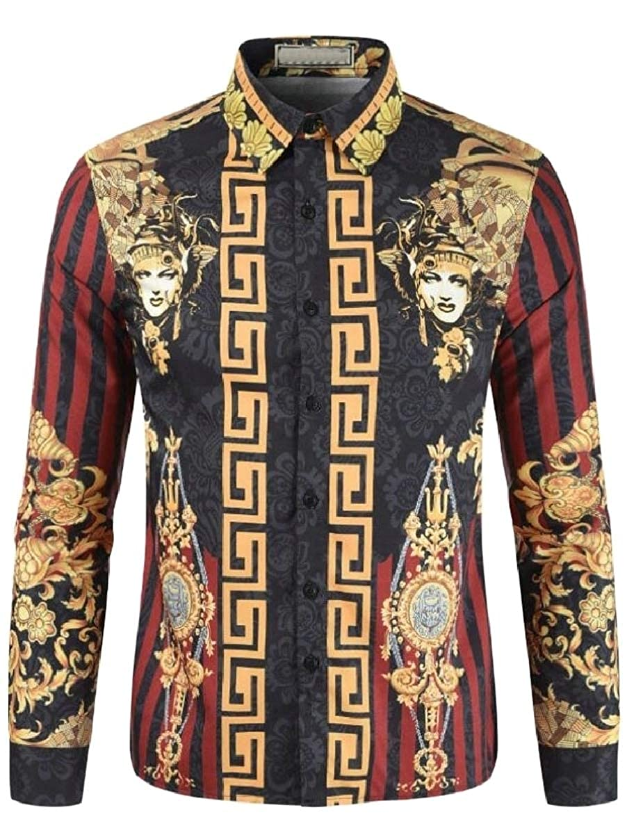 pujingge Mens Tops Lapel Long Sleeve Print Ethnic Style Button Down Shirts