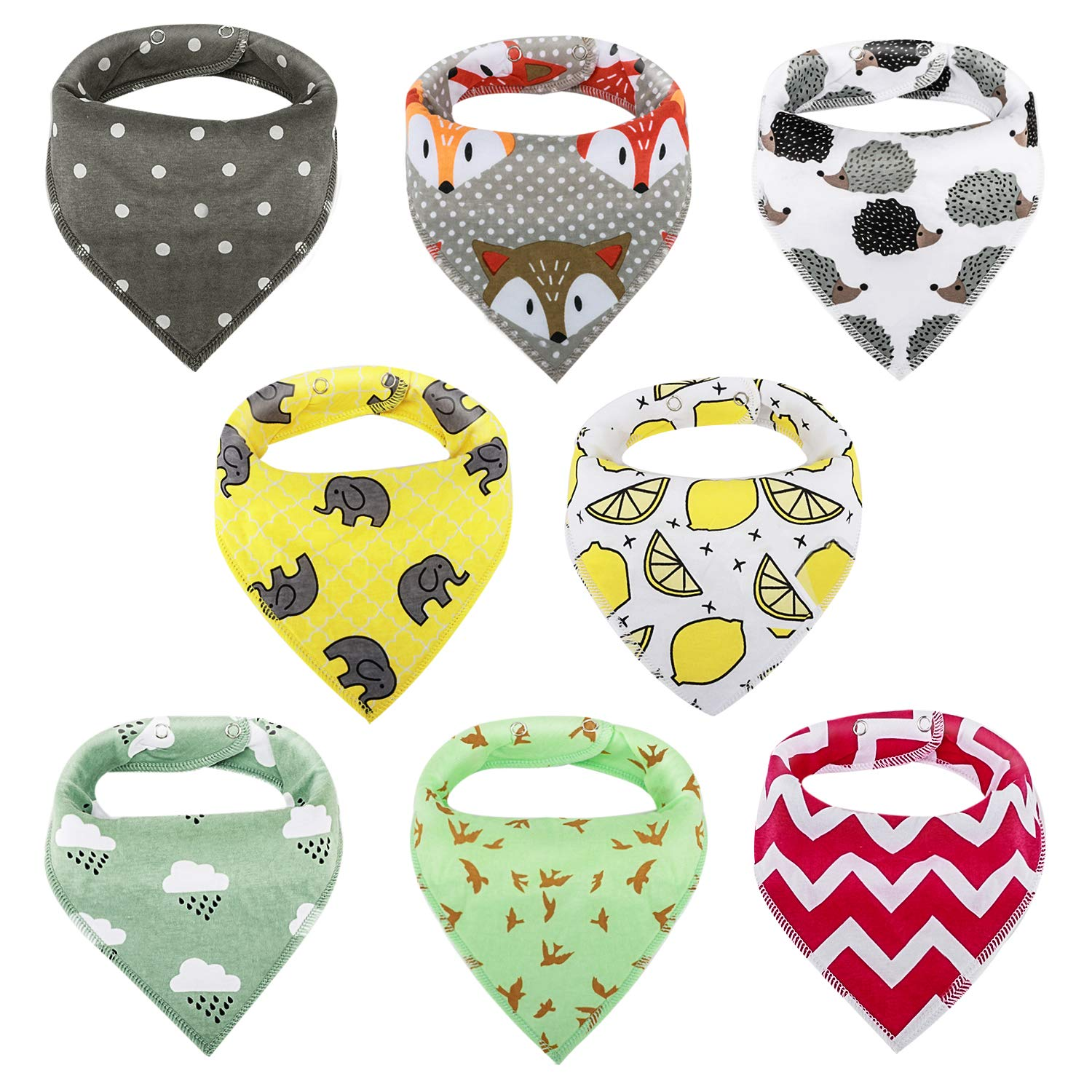 Zooawa 8 Pack Baby Bandana Drool Bibs, Soft Triangle Teething Organic Cotton Drool Bibs Set with Adjustable Snap for Baby Girls Boys, Multi-colors