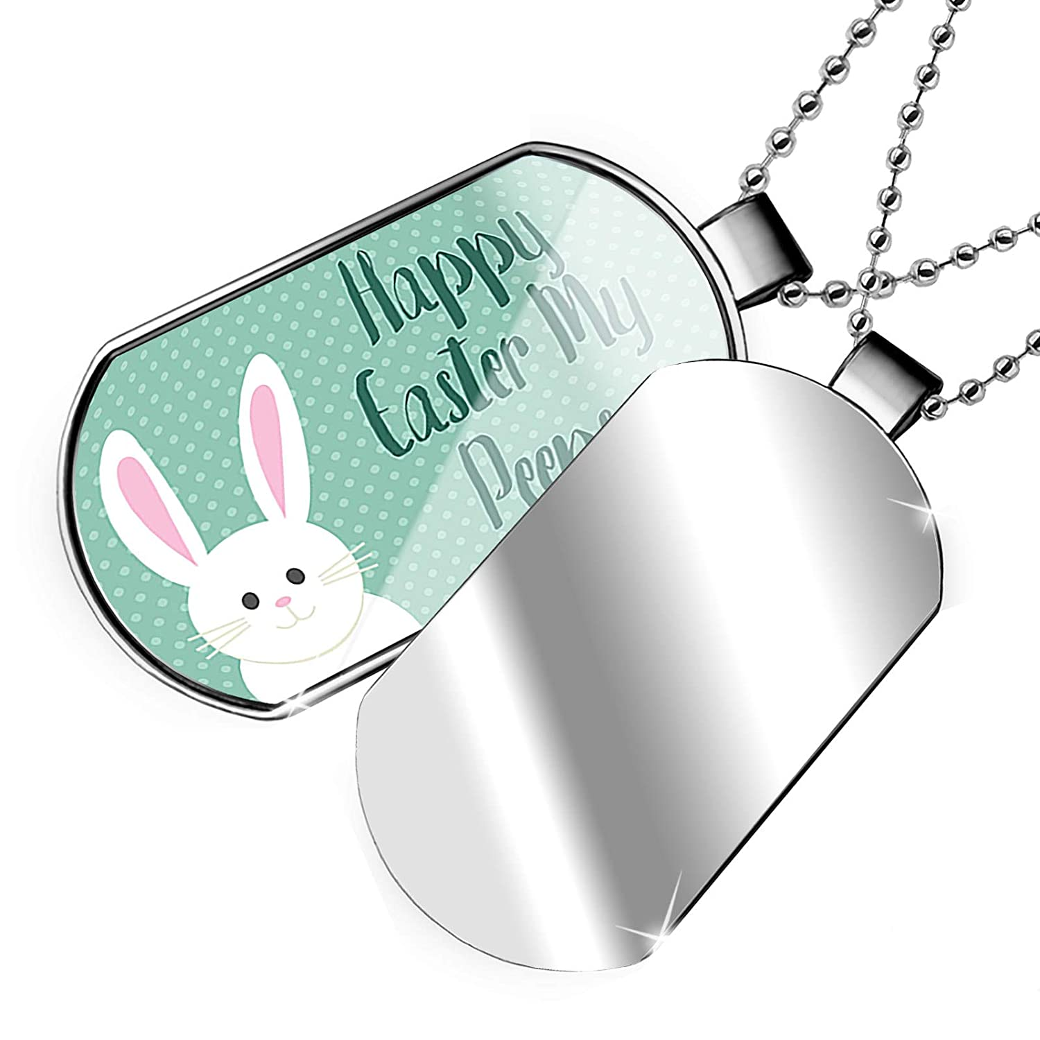 NEONBLOND Personalized Name Engraved Happy Easter My Peeps Cute Easter Bunny with Polka-dots Dogtag Necklace