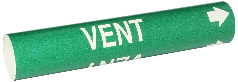 White On Green Coiled Printed Plastic Sheet Legend Vent Brady 4150-C Bradysnap-On Pipe Marker B-915