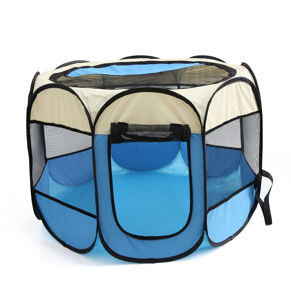 WowowMeow Foldable 8 Panels Pet Playpen Portable Dog Cage Fence with Zipper Door for Cats, Dogs, Rabbits or Small Animals (S, Beige Blue)