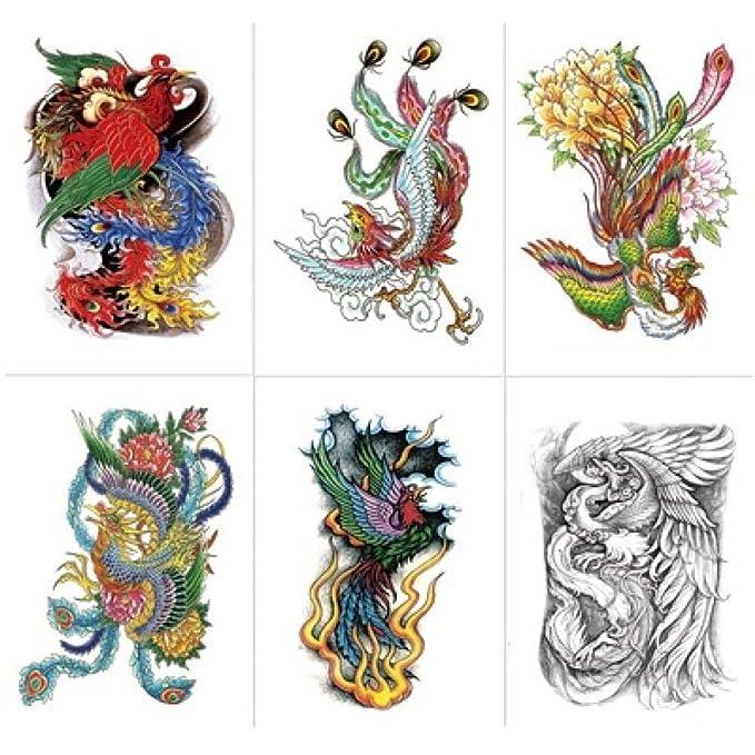 Tatuajes Temporales Adultos Fuego Phoenix Watermark Etiqueta ...