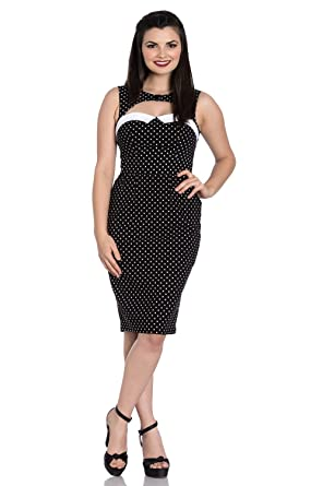 ce6f1675a Hell Bunny Miley Vintage Retro 1950's Rockabilly Polka Dot Pencil Wiggle  Dress - Black (XL