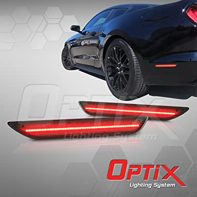 Optix Autolabs - Compatible with 2015-2020 Ford Mustang Smoked LED Rear Side Marker Light - LED Side Lamp Replacement Housing: Automotive