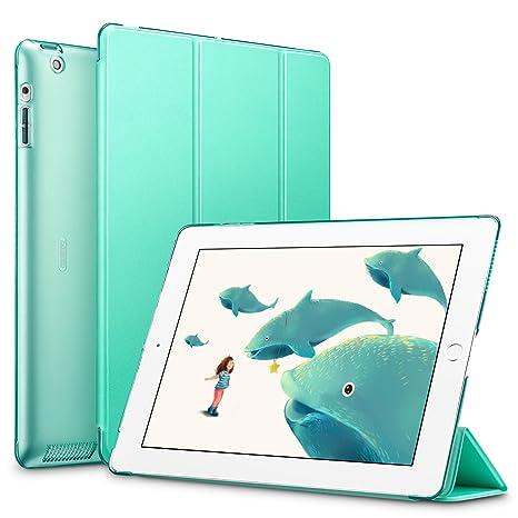 ESR - Funda iPad 2/3/4, Función de Soporte, Botones Protegidos, Carcasa Ligera Antigolpes de Cuero Sintético y Plástico Duro Esmerilado, Verde menta