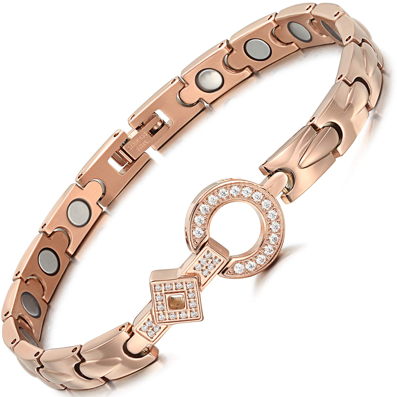 Elegant Titanium Steel Rhinestone Magnetic Therapy Bracelet Pain Relief for Arthritis and Carpal Tunnel,Adjustable with Free Link Removal Tool