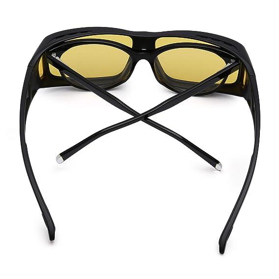 3c7b538d99 JIM HALO Fit Over Polarisiert Sonnenbrille Überziehen Nacht fahren Brille  Damen Herren(Schwarz Polarisiertes Gelb)  Amazon.de  Bekleidung