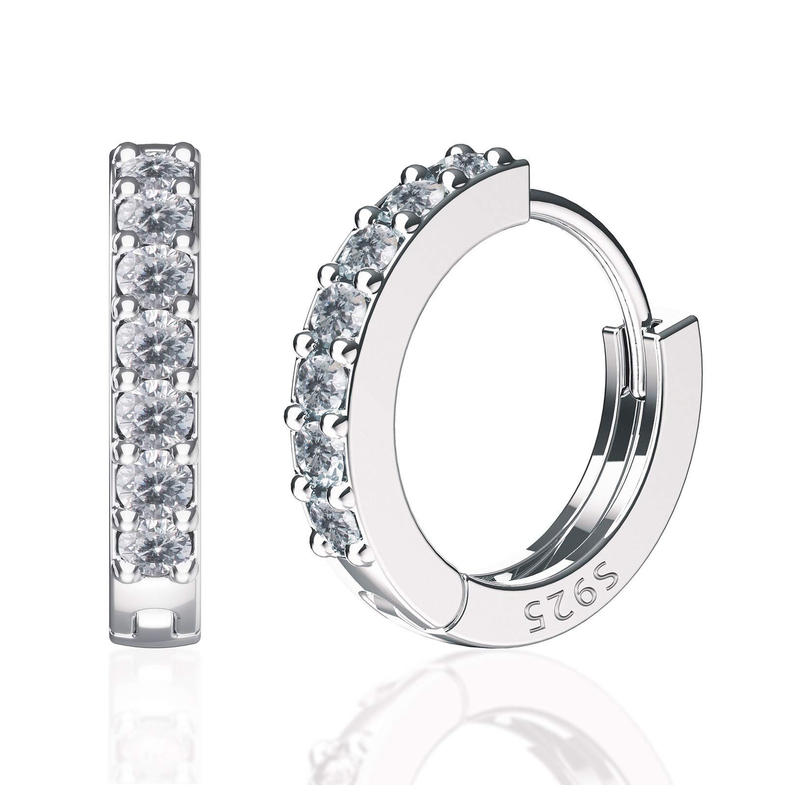 SWEETV 925 sterling silver small hoop earrings for women girls - Tiny small huggie hoop earrings cubic zirconia,Inner Diameter 9mm