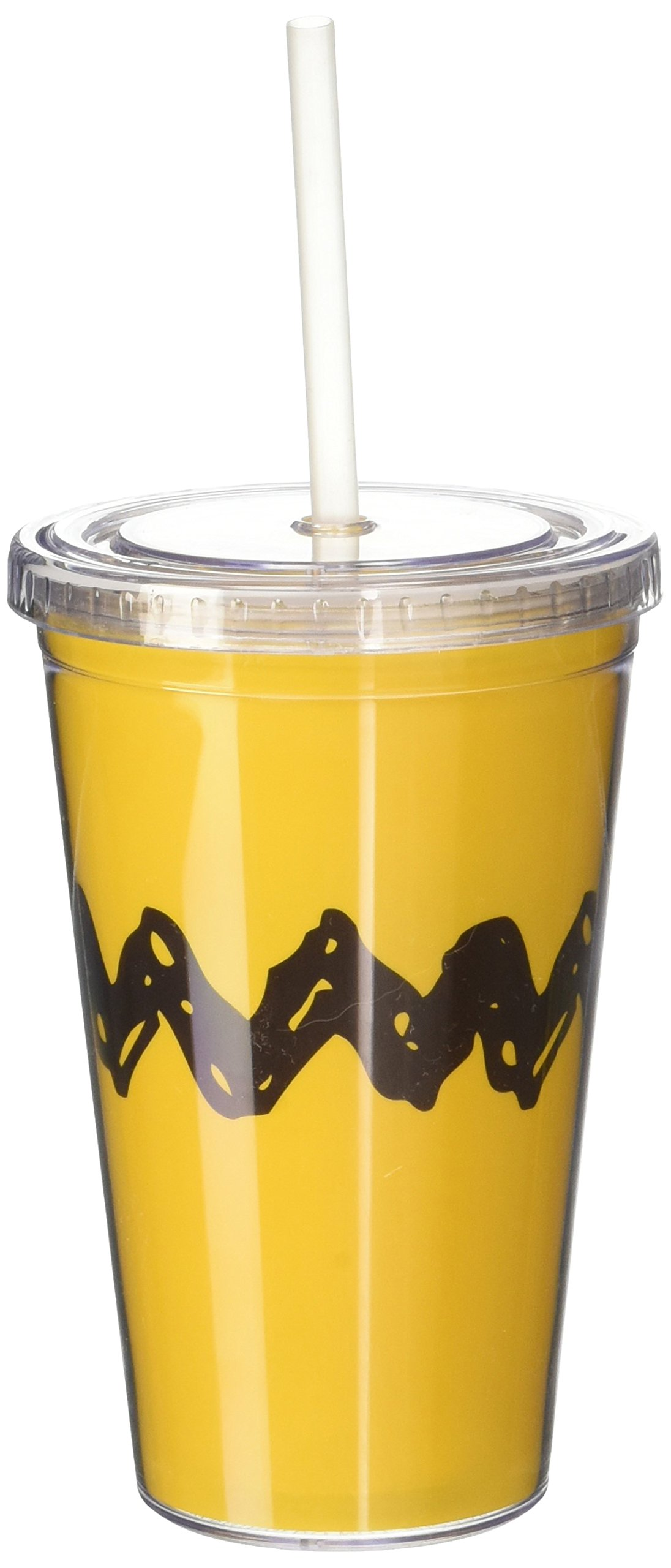 ICUP Peanuts Charlie Zig Zag Cup with Staw, Clear