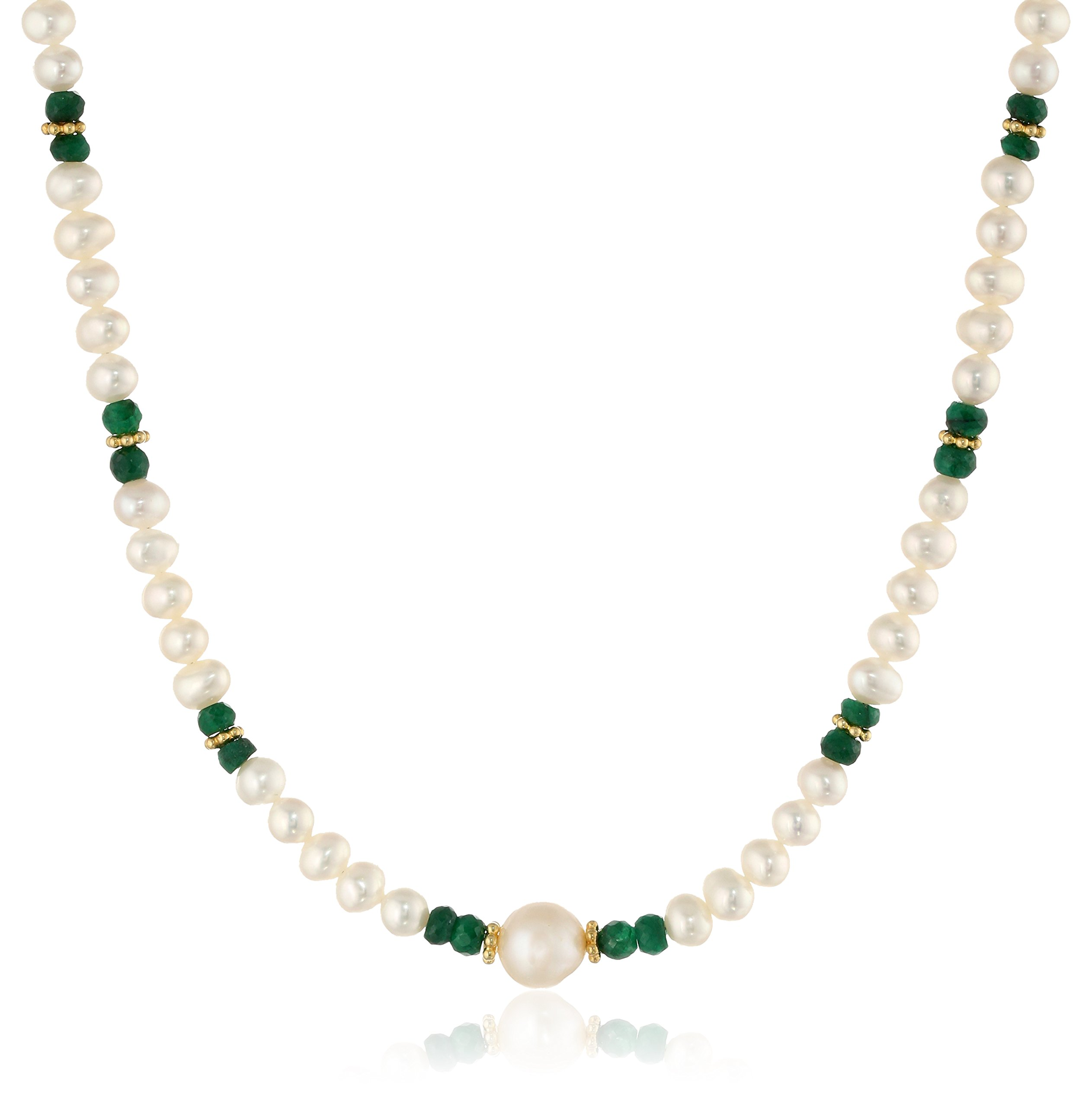 Dyed Green Corundum and Gold Plated Silver Accents with White Potato Freshwater Cultured Pearl Necklace, 18''