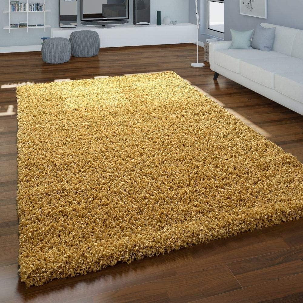 Paco Home Teppich Hochflor Gelb Wohnzimmer Shaggy Weich Strapazierfähig  Flauschig Robust, Grösse:16x16 cm