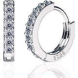 SWEETV 925 Sterling Silver Hoop Earrings for Women Girls - Tiny Small Large Huggie Hoop Earring