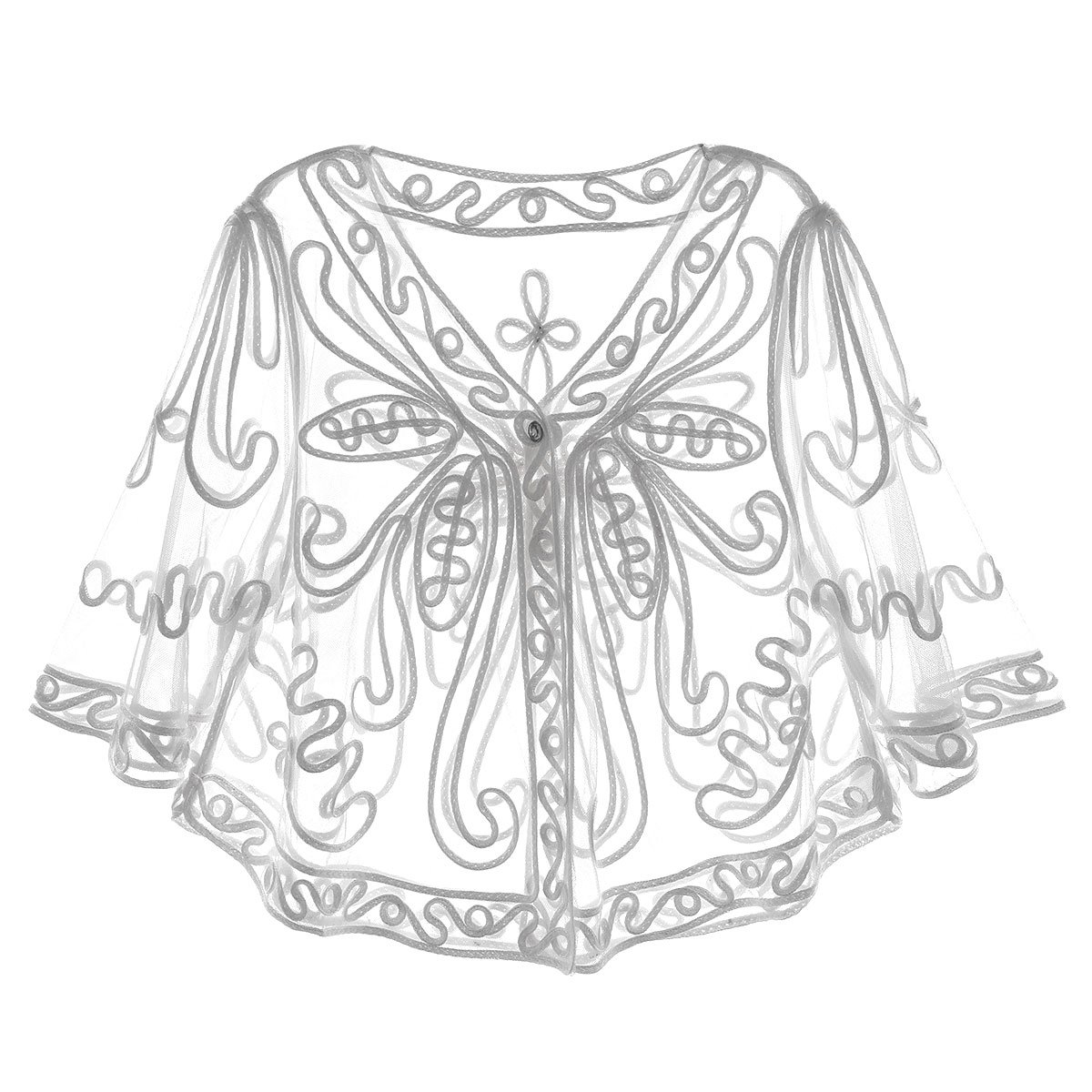 iEFiEL Women's Evening Shawl Flapper Wraps Deco Paisley 1920s Cape Cover up