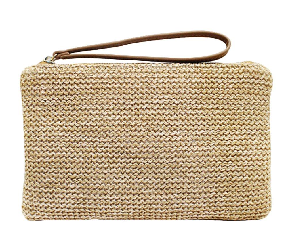 Agneta Women's Hand Wrist Type Straw Summer Beach Sea Handbag (Brown)