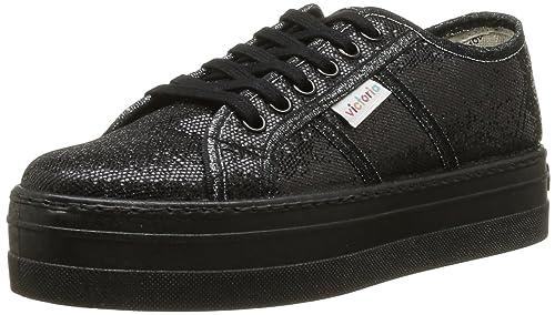 Zapatillas Victoria 9203 - Blucher Glitter Plataforma, Color Negro, Talla 39: Amazon.es: Zapatos y complementos