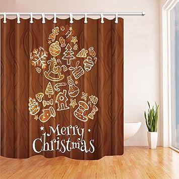 GWELL Decorative Kid Shower Curtain Cookies Waterproof Mildew Resistant Polyester Fabric Bathroom Set