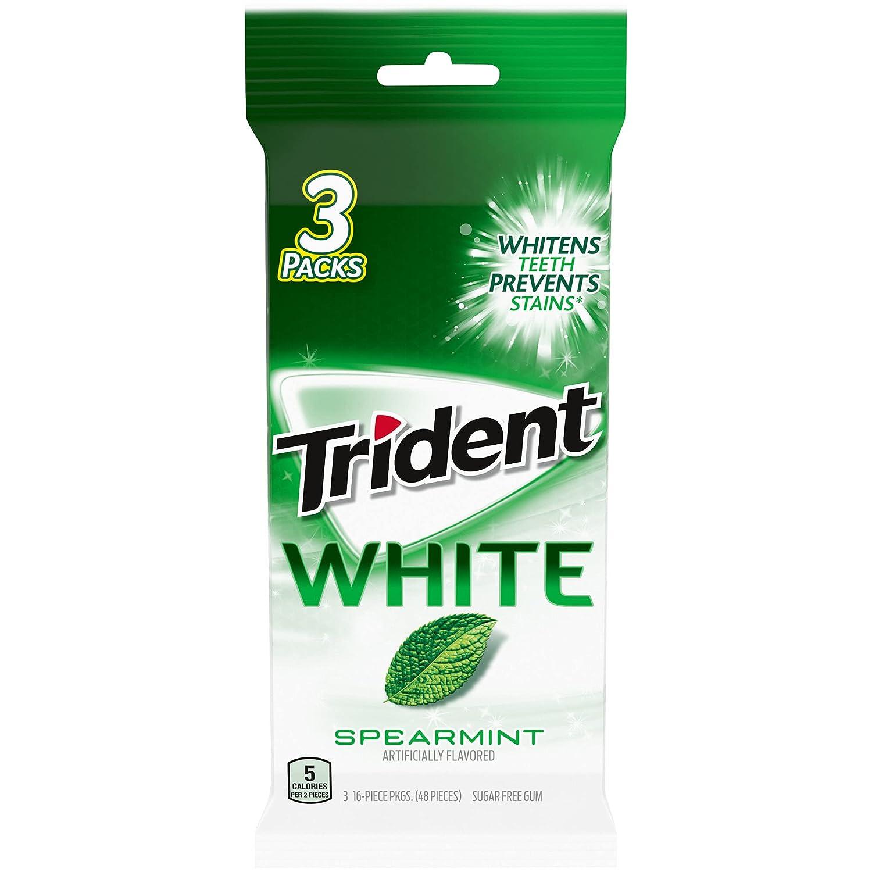 Trident White Sugar Free Gum, Flavor, 3 Packs ( Pieces Total), Spearmint, 48 Count