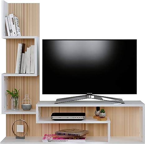 MIMOSA Mueble salón comedor para televisión - Blanco / Sonoma - Mueble bajo para televisor - Juego de muebles de salón - Mesa de Televisión en diseño elegante: Amazon.es: Hogar
