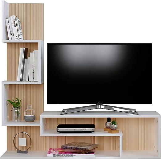 MIMOSA Mueble salón comedor para televisión - Blanco / Sonoma ...