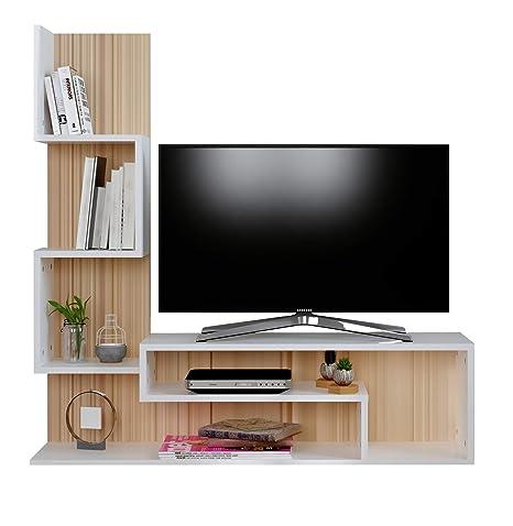 MIMOSA Mueble salón comedor para televisión - Blanco ...