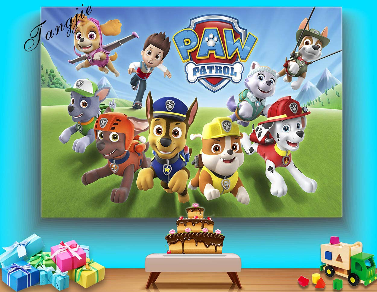 TJ 7X5FT Cartoon Paw Patrol Theme Photo Backdrops Kids Baby Shower Birthday Party Decotation Photography Background Cake Table Decor Banner Kids Studio Booth Props Vinyl by Tangjie (Image #2)