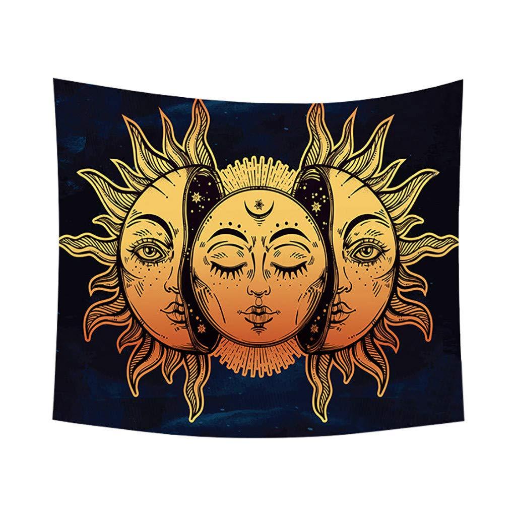 Weiliru Psychedelic Moon and Sun Wall Hanging Beach Towel Art Tapestry Dorm Home Decor Outdoor Idyllic Photo Art, Wall Hanging for Bedroom Living Room Dorm