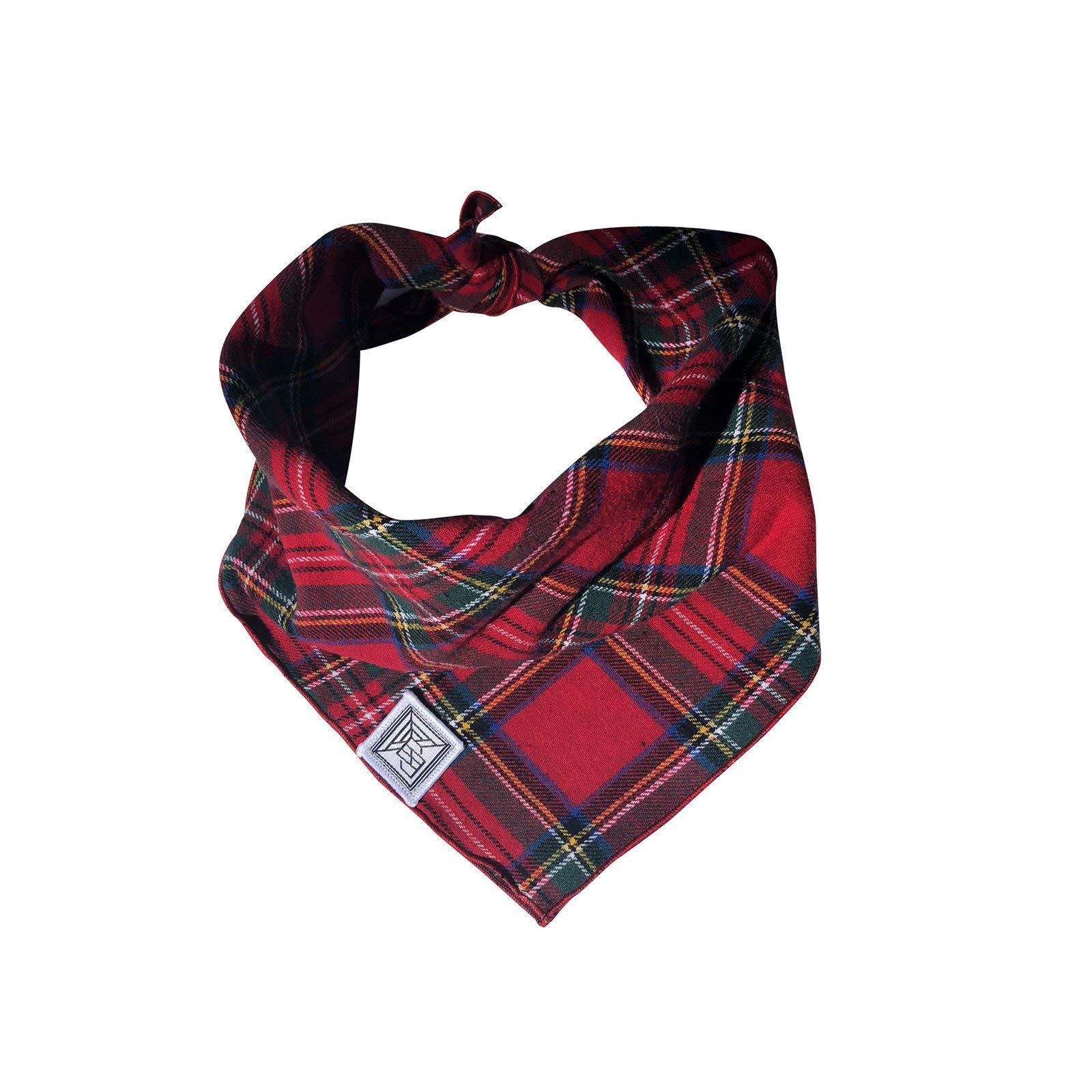 kiwi berry Pet Saliva Towel Scarf | Red Plaid Tie-on Dog Bandana