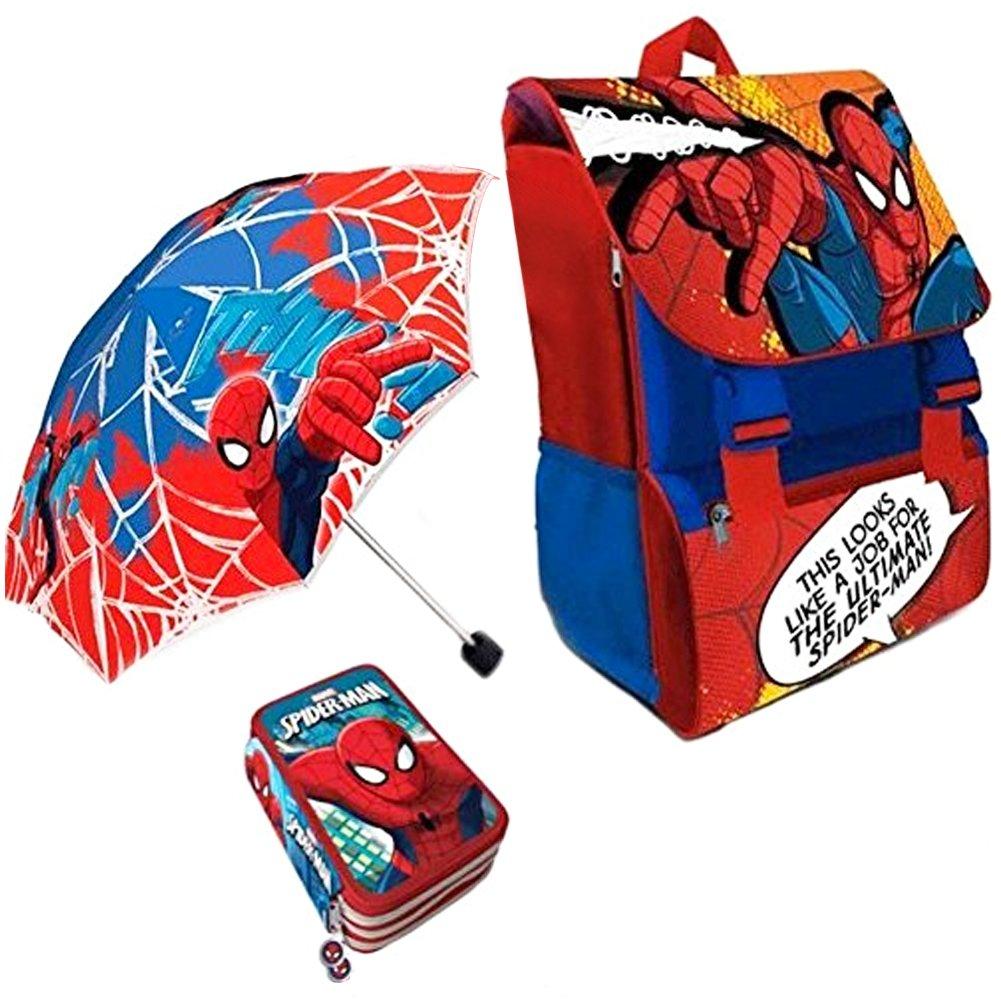 Kit Scuola 3 in 1 School Promo Pack Zaino Estensibile + Astuccio 3 Zip Accessoriato + Ombrello Salvaspazio SPIDER MAN Uomo Ragno Marvel Edizione Nuova BAK-SPIDERMAN-2018