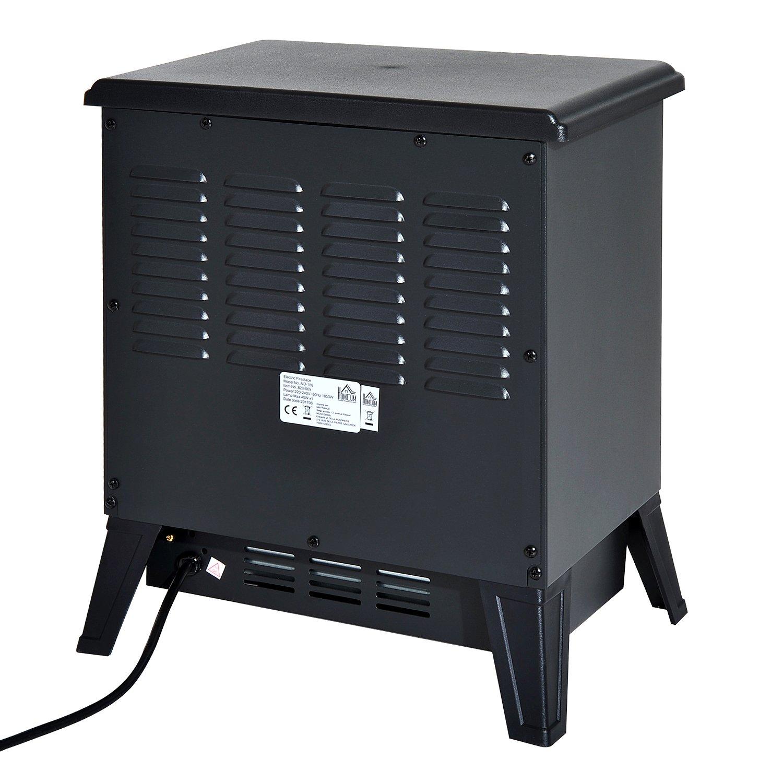 HOMCOM Chimenea Eléctrica Estufa Calefactor Eléctrica con Termostato Brillo Temperatura Ajustable 900W/1800W Efecto Leña Ardiendo 36x25.5x41.5cm Acero: ...