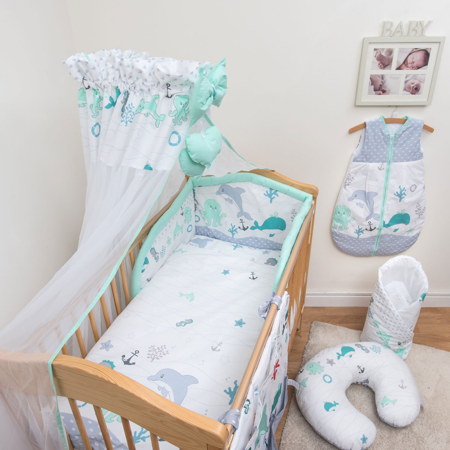 Fits Cot 120x60 cm, Pattern 14 10 Piece Cot Bedding Set with Safety Padded Bumper