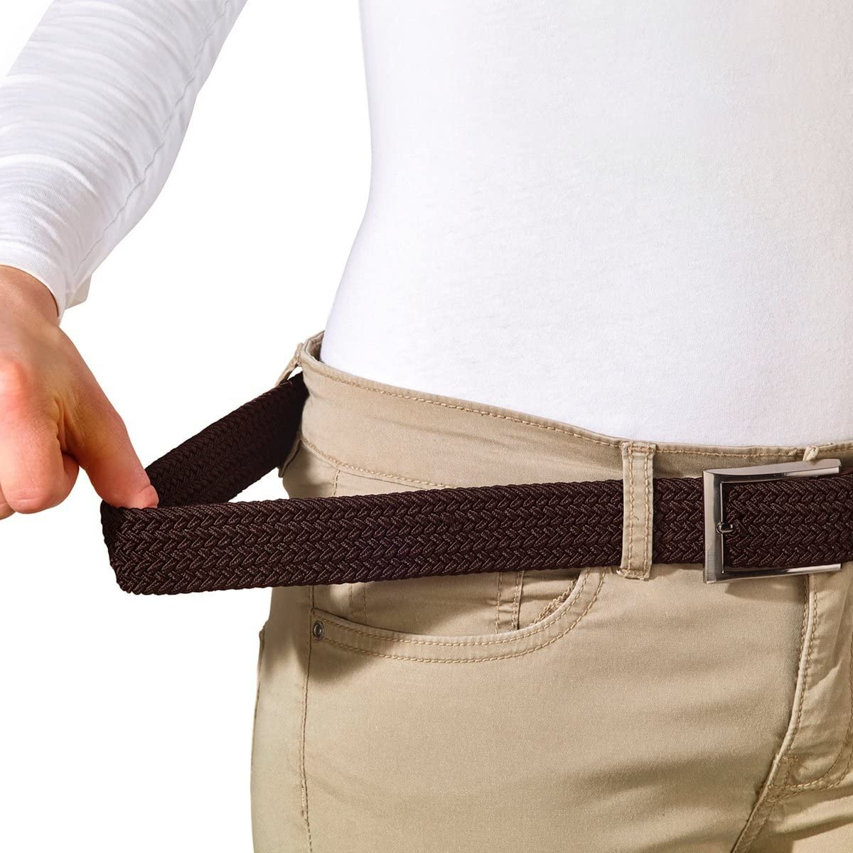 Leather Loop and End Tip Fabric Woven Belt Braided Stretch Belt