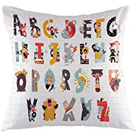 """oFloral Alphabet Decorative Throw Pillow Cover,English Alphabet Letters Pillow Case Square Cushion Cover for Sofa Couch Home Car Bedroom Living Room Decor 18"""" x 18"""" Black Yellow"""