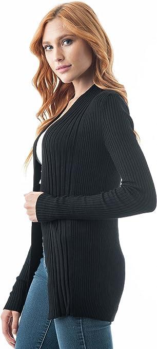 Khanomak Women's Plain Long Ribbed Open Front Long Sleeve Knit Cardigan Sweater
