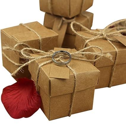 50 cajas con forma de cubo para peladillas, de cartulina kraft, diseño rústico con