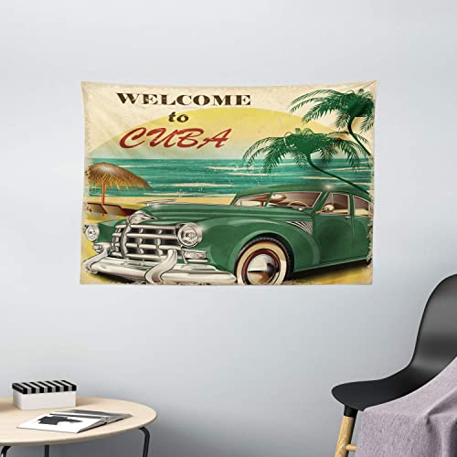 Ambesonne Retro Tapestry, Nostalgic Welcome to Cuba Print with Classic Car Beach Ocean Palm Trees, Wide Wall Hanging for Bedroom Living Room Dorm, 60 X 40 , Green Cream
