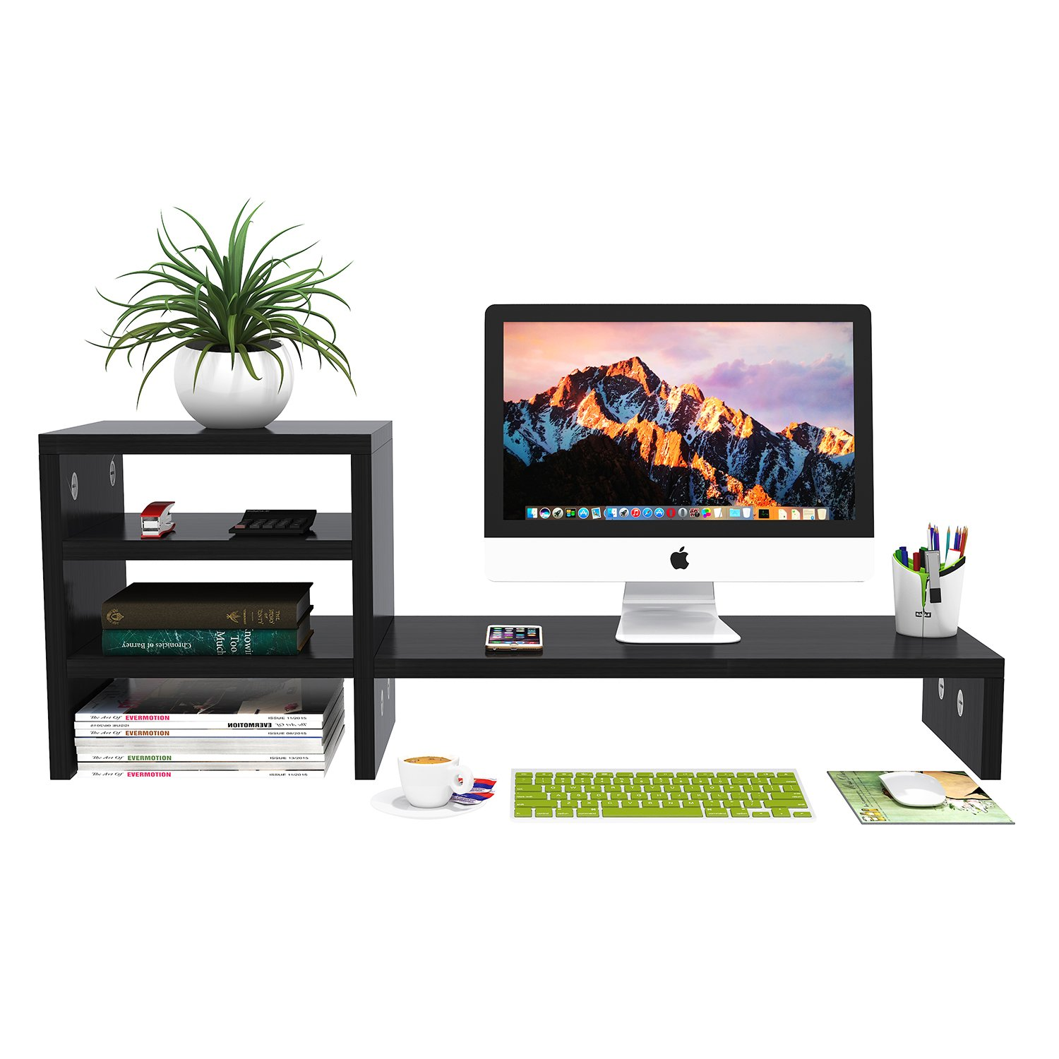Ufine Wood Computer Monitor Stand Riser with 2 Tier Desk Storage Organizer Shelf Universal PC LCD Screen Holder Mobile Notebook Boook Corner Rack for Home Office (Black,Large,31.5'',Space Saving) by Ufine