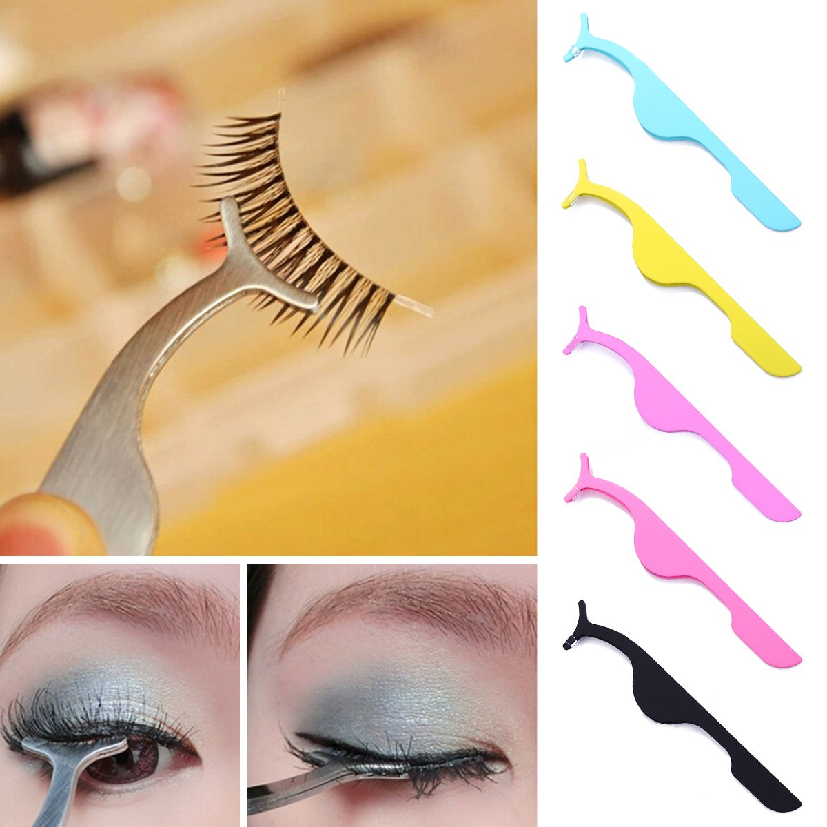 Beauty Tools Multifunctional False Eyelashes Stainless Auxiliary Eyelash Curler Tweezers Clip makeup Accessories tools