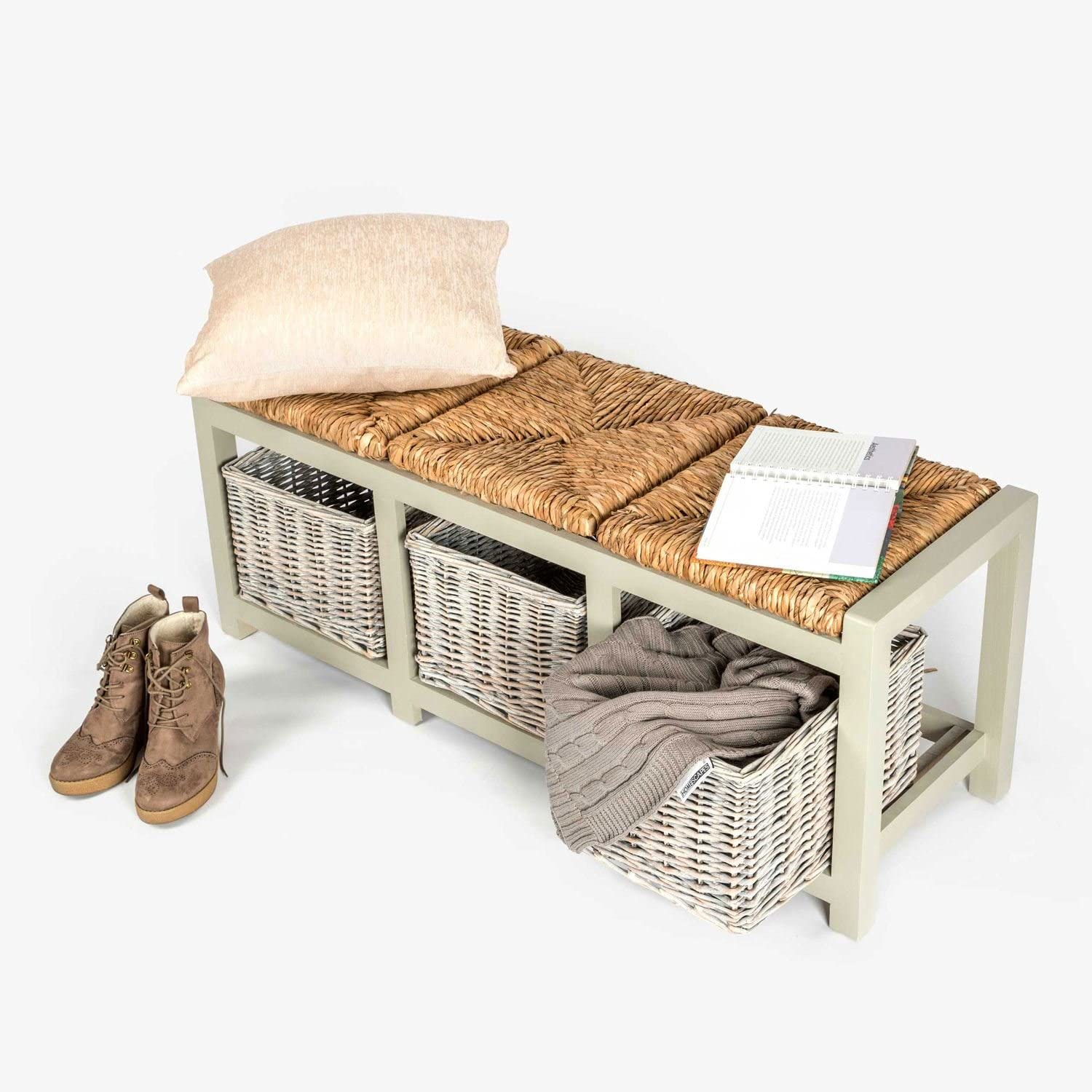 HOMESCAPES Grey Three Seater Wooden Storage Unit Hallway or Dining Room Bench with Wicker Storage Baskets and Seats